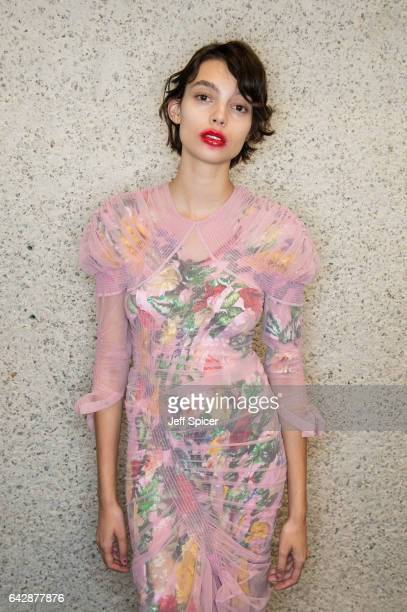 A model backstage ahead of the Preen by Thornton Bregazzi show during the London Fashion Week February 2017 collections on February 19 2017 in London...