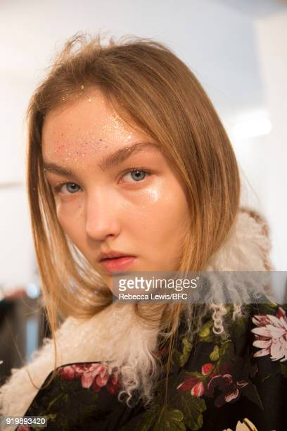 A model backstage ahead of the Preen by Thornton Bregazzi show during London Fashion Week February 2018 at on February 18 2018 in London England