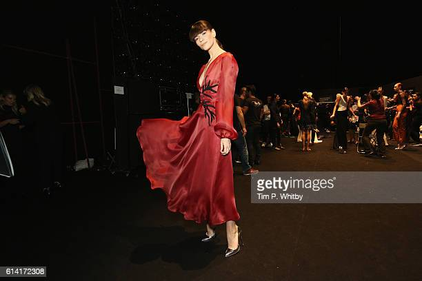 A model backstage ahead of the Rasit Bagzibagli show during MercedesBenz Fashion Week Istanbul at Zorlu Center on October 12 2016 in Istanbul Turkey