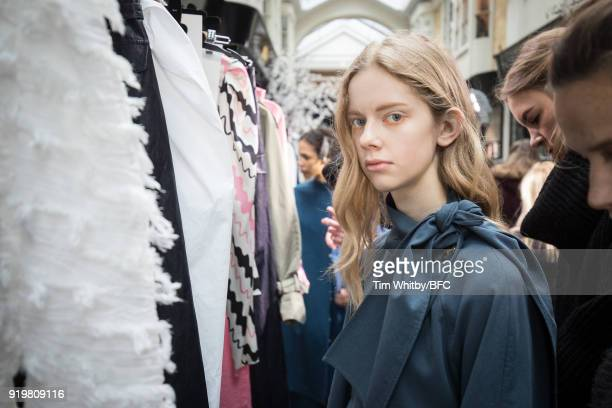 A model backstage ahead of the REJINA PYO show during London Fashion Week February 2018 at 6 Burlington Gardens on February 18 2018 in London England
