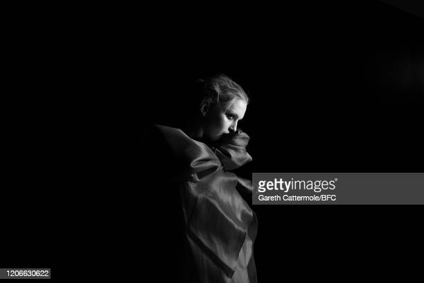 Model backstage ahead of the Richard Quinn show during London Fashion Week February 2020 on February 15, 2020 in London, England.