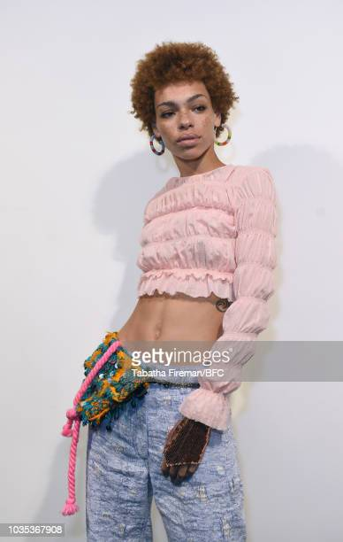 Model backstage ahead of the Roberta Einer show during London Fashion Week September 2018 on September 18, 2018 in London, England.