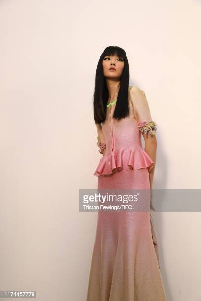 Model backstage ahead of the Roberta Einer show during London Fashion Week September 2019 at the BFC Show Space on September 13, 2019 in London,...