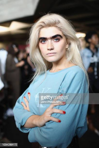 A model backstage ahead of the Roland Mouret show during London Fashion Week September 2018 on September 16 2018 in London England