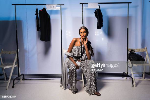 A model backstage ahead of the Royaled by RH presentation at Fashion Forward October 2017 held at the Dubai Design District on October 26 2017 in...