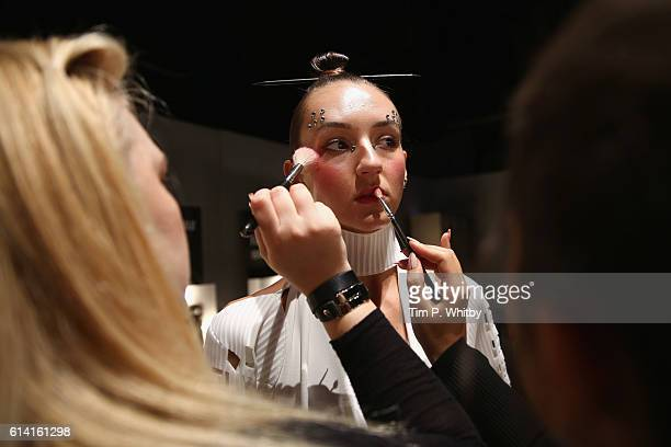 A model backstage ahead of the Selma State show during MercedesBenz Fashion Week Istanbul at Zorlu Center on October 12 2016 in Istanbul Turkey