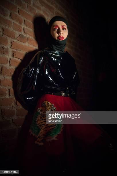 A model backstage ahead of the Siyar Akboga show during MercedesBenz Fashion Week Istanbul at Zorlu Performance Hall on March 27 2018 in Istanbul...