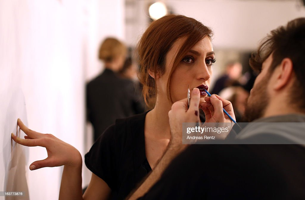 A model backstage ahead of the Soul By Ozgur Masur show during Mercedes-Benz Fashion Week Istanbul Fall/Winter 2013/14 at Antrepo 3 on March 15, 2013 in Istanbul, Turkey.