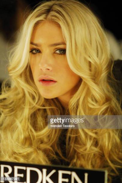 Model backstage ahead of the S/S 2008/09: Hot In The City Lingerie show, at the Rosemount Sydney Fashion Festival Marquee, Martin Place on August 13,...