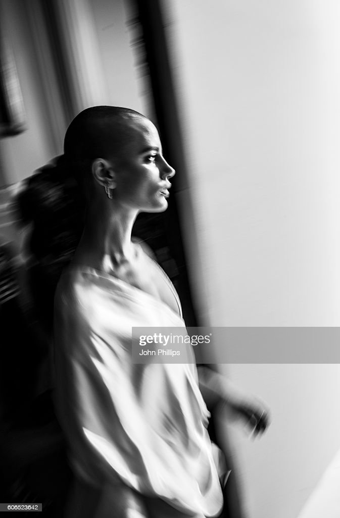 A model backstage ahead of the Swedish School of Textiles runway show at Fashion Scout during London Fashion Week Spring/Summer collections 2017 on September 16, 2016 in London, United Kingdom.