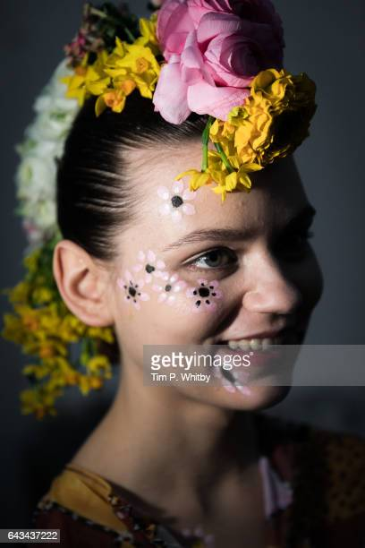 A model backstage ahead of the Tata Naka show during the London Fashion Week February 2017 collections at the ICA on February 21 2017 in London...