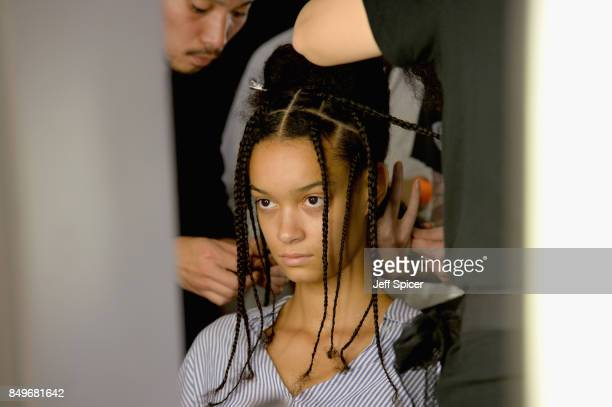A model backstage ahead of the Tommy Hilfiger TOMMYNOW Fall 2017 Show during London Fashion Week September 2017 at the Roundhouse on September 19...