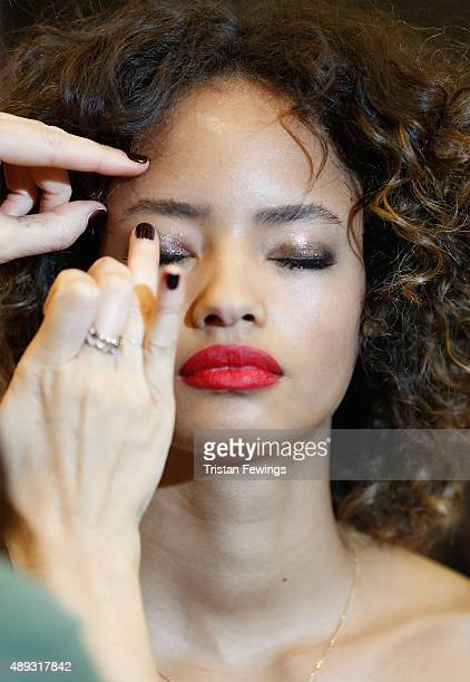 A model backstage ahead of the Topshop Unique show during London Fashion Week Spring/Summer 2016 on September 20 2015 in London England