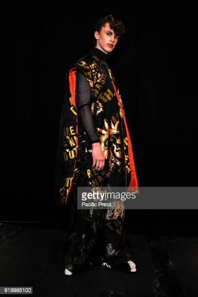 A model backstage ahead of the Underage presentation during London Fashion Week February 2018 at ICA Theatre