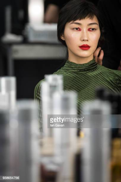 A model backstage ahead of the Urun show during MercedesBenz Istanbul Fashion Week at the Zorlu Performance Hall on March 27 2018 in Istanbul Turkey