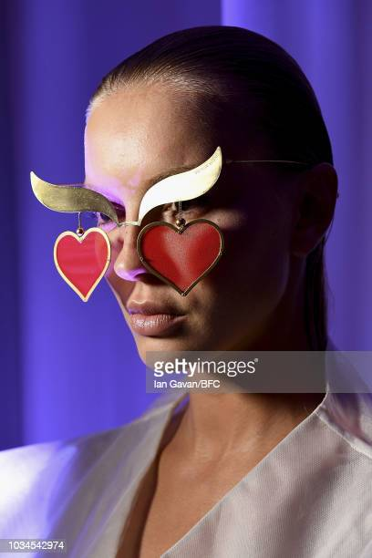 A model backstage ahead of the Victor Wong show during London Fashion Week September 2018 at the on September 16 2018 in London England