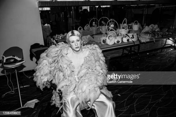 A model backstage ahead of the VIN OMI show at The Savoy Hotel on February 14 2020 in London England