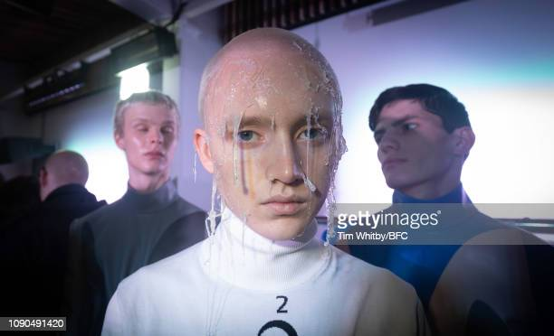 A model backstage ahead of the Xander Zhou show during London Fashion Week Men's January 2019 January 06 2019 in London England