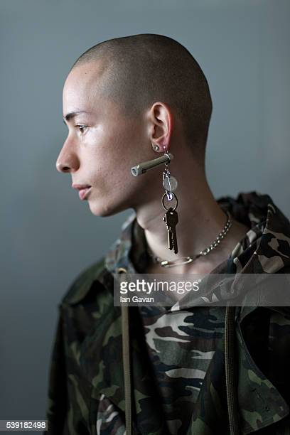 Model backstage ahead of the Xander Zhou show during The London Collections Men SS17 at BFC Show Space on June 10, 2016 in London, England.