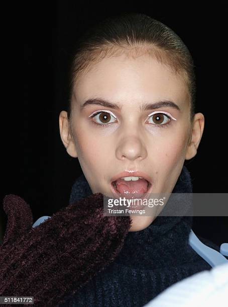 A model backstage ahead of the Xiao Li show during London Fashion Week Autumn/Winter 2016/17 at Brewer Street Car Park on February 23 2016 in London...