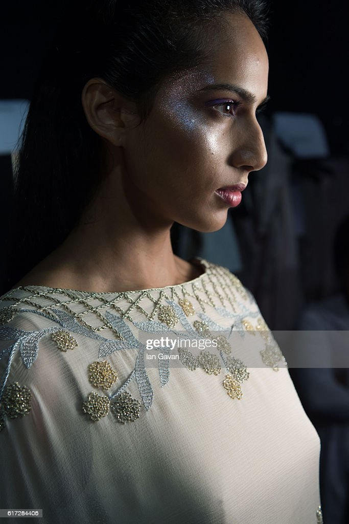 A model backstage ahead of the Zareena presentation during Fashion Forward Spring/Summer 2017 at the Dubai Design District on October 22, 2016 in Dubai, United Arab Emirates.