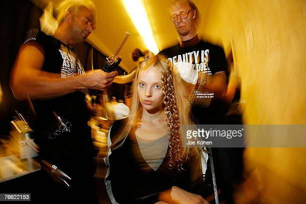 Model backstage at 3.1 Phillip Lim fashion show during the Mercedes-Benz Fashion Week Spring 2008 on Sep 9 2007 in New York City