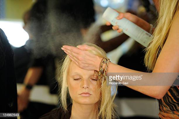 Model backstage at 31 Phillip Lim Spring 2012 on September 14 2011 in New York City