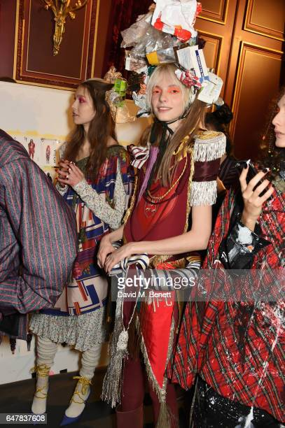 A model backstage at Andreas Kronthaler for Vivienne Westwood show as part of the Paris Fashion Week Womenswear Fall/Winter 2017/2018 on...