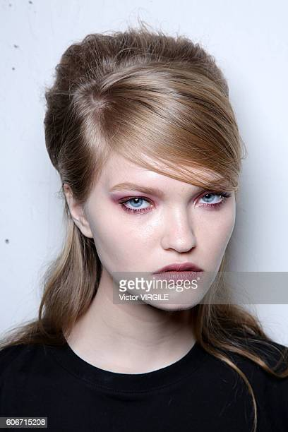 A model backstage at Anna Sui Ready to Wear Spring Summer 2017 fashion show during New York Fashion Week on September 14 2016 in New York City