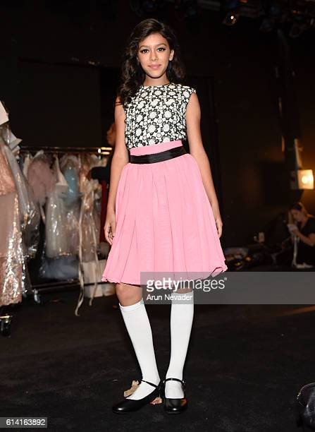 A model backstage at Art Hearts Fashion Los Angeles Fashion Week on October 11 2016 in Los Angeles California