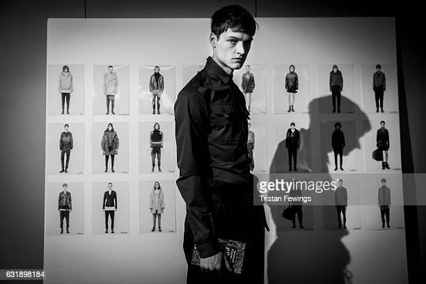 Model backstage at Diesel Black Gold show during Milan Men's Fashion Week Fall/Winter 2017/18 on January 14, 2017 in Milan, Italy.