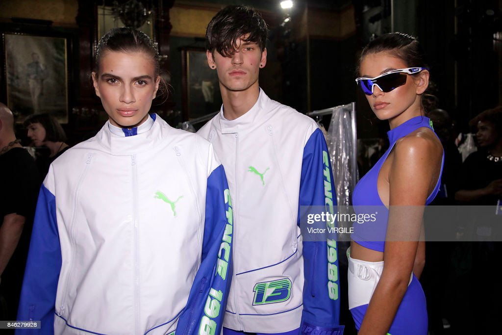 A model backstage at Fenty Puma By Rihanna Spring/Summer 2018 fashion show during New York Fashion Week on September 10, 2017 in New York City.