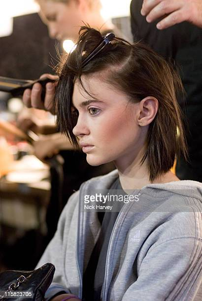 Model backstage at Gharani Strok Fall/Winter 2007 during London Fashion Week Fall/Winter 2007 Gharani Strok Backstage at BFC Tent in London Great...