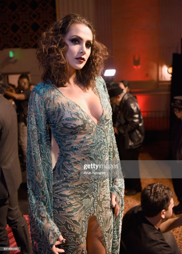A model backstage at Los Angeles Fashion Week Powered by Art Hearts Fashion LAFW FW/18 10th Season Anniversary - Backstage and Front Row - Day 2 at The MacArthur on March 13, 2018 in Los Angeles, California.