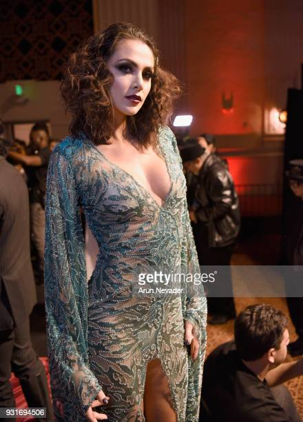A model backstage at Los Angeles Fashion Week Powered by Art Hearts Fashion LAFW FW/18 10th Season Anniversary Backstage and Front Row Day 2 at The...