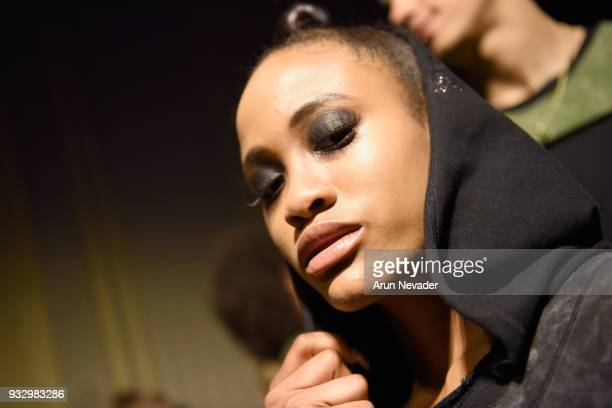 A model backstage at Los Angeles Fashion Week Powered by Art Hearts Fashion LAFW FW/18 10th Season Anniversary Backstage and Front Row Day 5 at The...