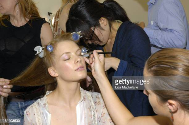 Model backstage at Rebecca Taylor Spring 2006 during Olympus Fashion Week Spring 2006 Rebecca Taylor Backstage and Runway at New York Public Library...