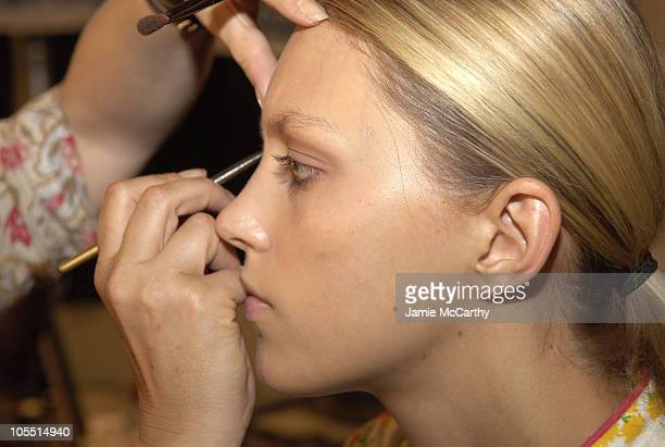 Model backstage at Richard Chai Spring 2006 during Olympus Fashion Week Spring 2006 Narciso Rodriguez Front Row and Backstage at Bryant Park in New...