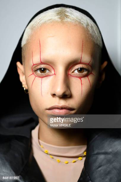 A model backstage at the Ashley Williams Ready to Wear Spring/Summer 2018 fashion show during London Fashion Week September 2017 on September 15 2017...