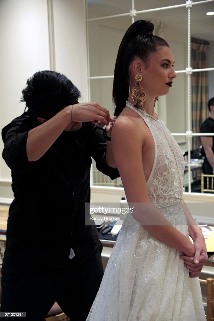 A model backstage at the Berta Runway show during New York Fashion Week: Bridal April 2017 at The Plaza Hotel on April 21, 2017 in New York City.