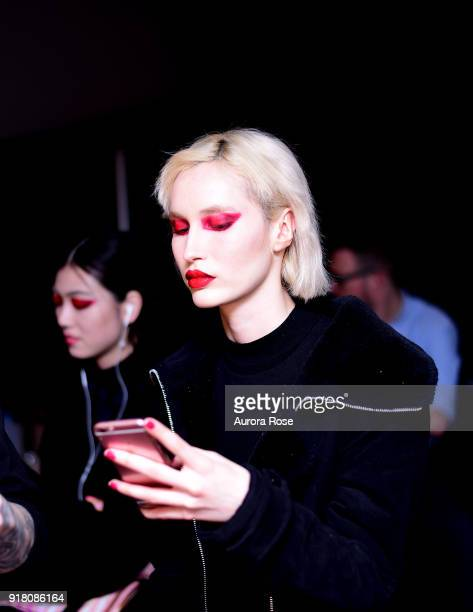 Model backstage at The Blonds Runway show at Spring Studios on February 13 2018 in New York City