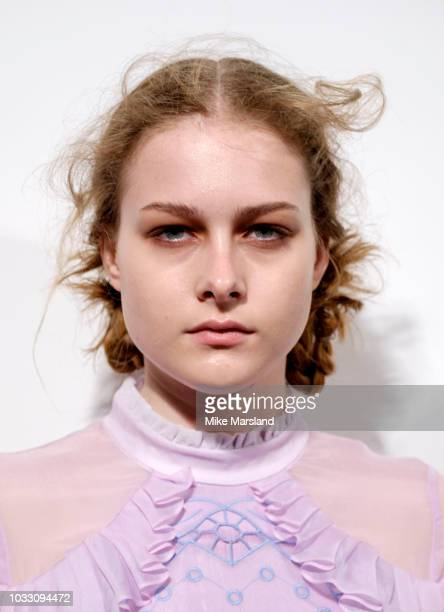 A model backstage at the Bora Aksu Show during London Fashion Week September 2018 at The BFC Show Space on September 14 2018 in London England