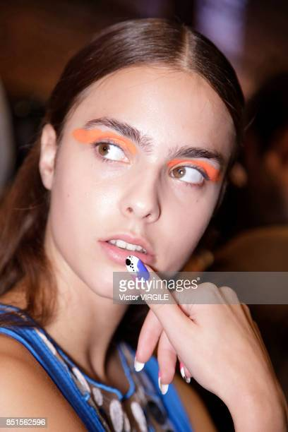 A model backstage at the Byblos Ready to Wear Spring/Summer 2018 fashion show during Milan Fashion Week Spring/Summer 2018 on September 20 2017 in...