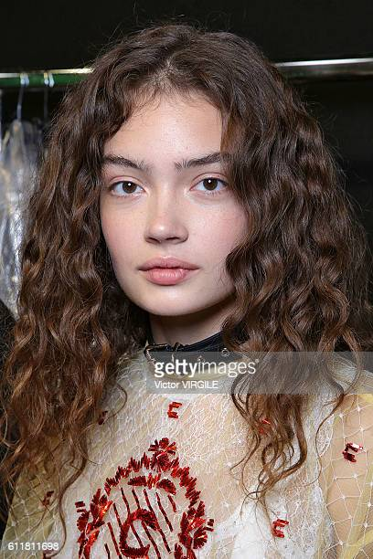 A model backstage at the Carven Ready to Wear show as part of the Paris Fashion Week Womenswear Spring/Summer 2017 on September 29 2016 in Paris...