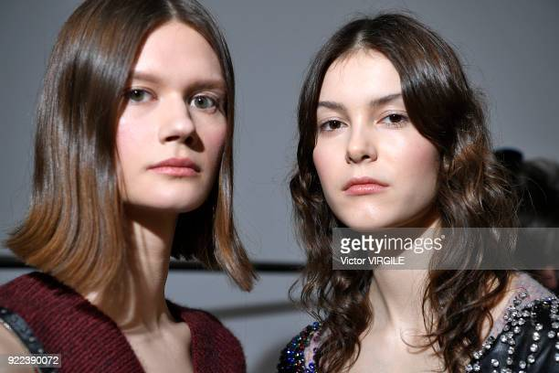 A model backstage at the Christopher Kane Ready to Wear Fall/Winter 20182019 fashion show during London Fashion Week February 2018 on February 19...