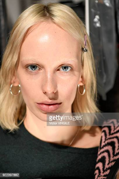 Model backstage at the Christopher Kane Ready to Wear Fall/Winter 2018-2019 fashion show during London Fashion Week February 2018 on February 19,...