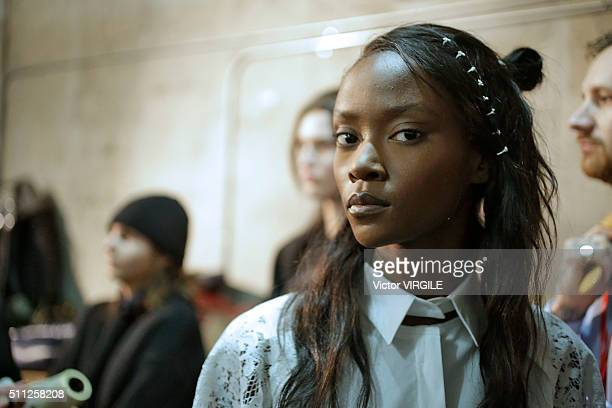 A model backstage at the DKNY Women's Fall/Winter 2016 fashion show during New York Fashion Week on February 17 2016 in New York City