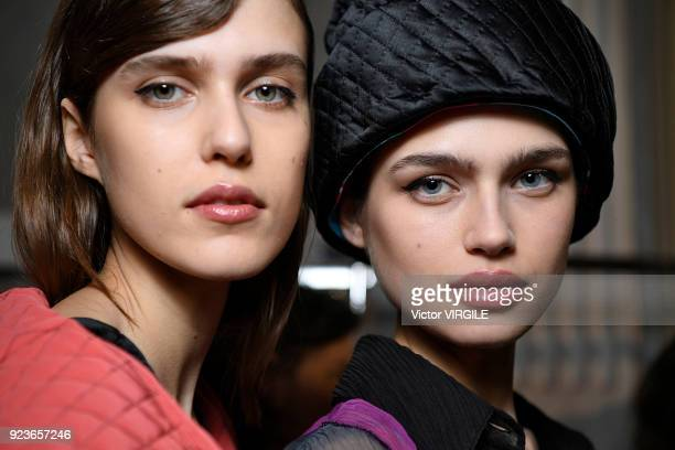 A model backstage at the Emilio Pucci Ready to Wear Fall/Winter 20182019 fashion show during Milan Fashion Week Fall/Winter 2018/19 on February 22...