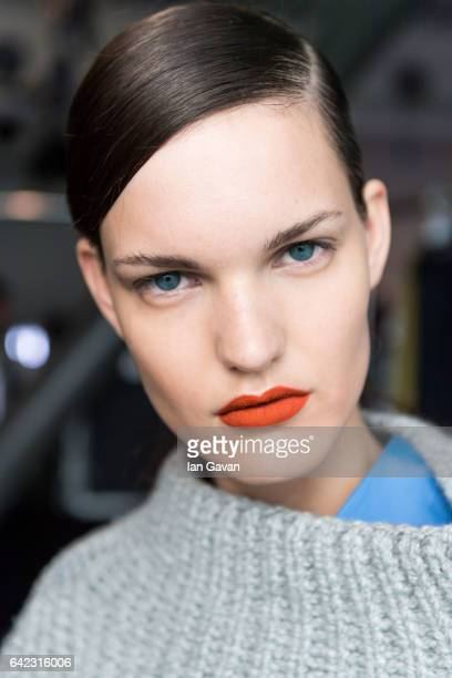 A model backstage at the Eudon Choi show during the London Fashion Week February 2017 collections on February 17 2017 in London England