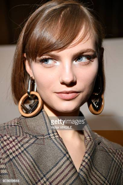 A model backstage at the Fendi Ready to Wear Fall/Winter 20182019 fashion show during Milan Fashion Week Fall/Winter 2018/19 on February 22 2018 in...